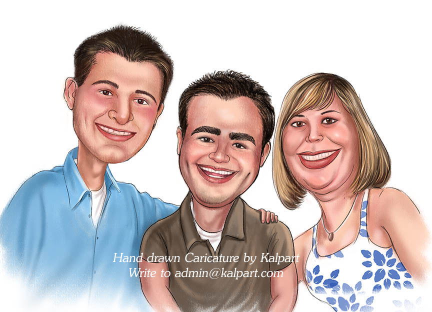 Hand drawn Caricatures for wedding, Party, Celebrations, Group by Kalpart