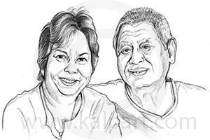 Couple Caricature Portrait Drawing www.kalpart.com