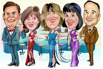 Party - Group color Caricatures www.kalpart.com